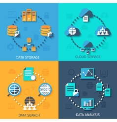 Big data 4 flat icons composition vector image
