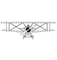 biplane isolated outline vector image