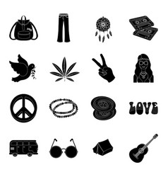 Bird hemp leaf and other hippy equipment hippy vector