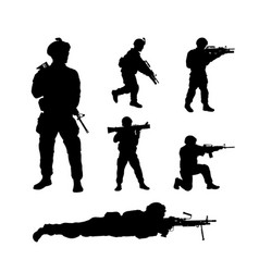 Black silhouettes of american soldiers usa army vector