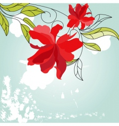 blue background with red flowers vector image