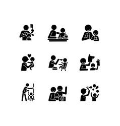 bonding activity black glyph icons set on white vector image
