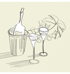 bottle and glasses vector image