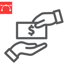 Bribe line icon election and corruption hand vector