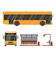 Bus stop in side and front view positions vector