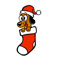 cartoon dog santa hat christmas stocking vector image