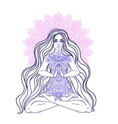 Chakra concept girl sitting in lotus position vector