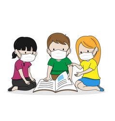 Children reading a book with masks vector