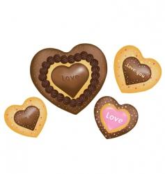 Chocolate cookies hearts shape vector