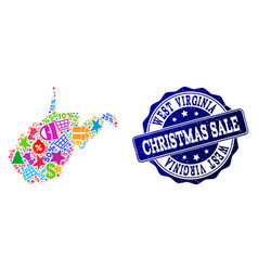 Christmas sale composition of mosaic map of west vector