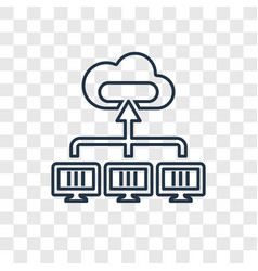 cloud concept linear icon isolated on transparent vector image