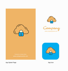 cloud protected company logo app icon and splash vector image