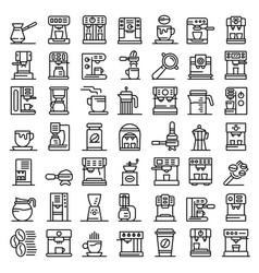 coffee machine icons set outline style vector image