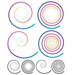 Colorful spiral elements plain black version vector
