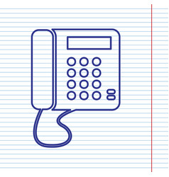 communication or phone sign navy line vector image
