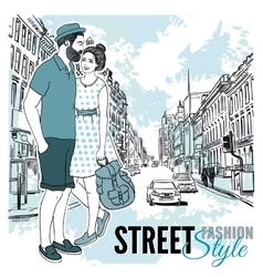 Couple Fashion City Street Poster vector