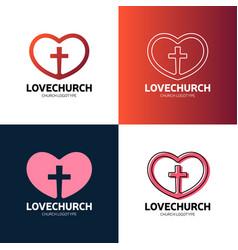 Cross and heart faith christian church logo vector