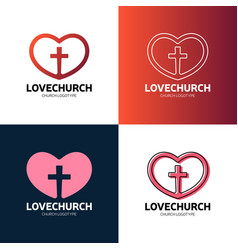 Cross and heart of faith christian church logo vector
