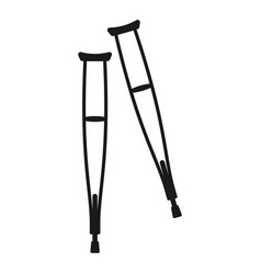 crutches icon black orthopedic and rehabilitation vector image