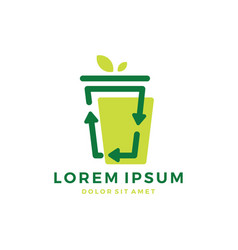 Cup recycle sign logo vector