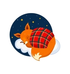 Cute Cartoon Fox Sleeping on a Cloud Covered with vector