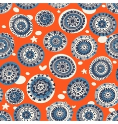 Decorative seamless pattern on the orange vector image