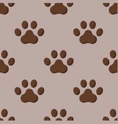 Dog or cat paw dog footprint flat seamless pattern vector
