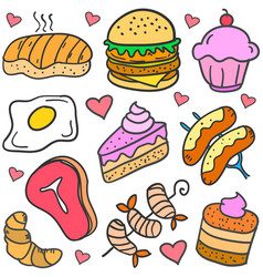 Doodle of food various cake set vector