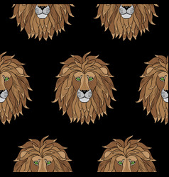 embroidery lion seamless pattern vector image vector image