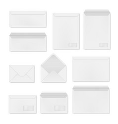 envelopes white open and closed realistic vector image