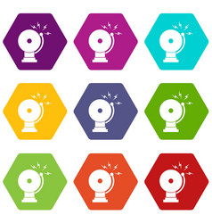 fire alarm icon set color hexahedron vector image