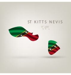 Flag of ST KITTS NEVIS as a country with a shadow vector image