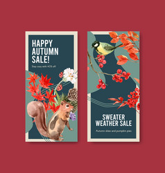 flyer template with autumn forest and animals vector image