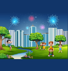 funny cartoon family and children are playing in t vector image