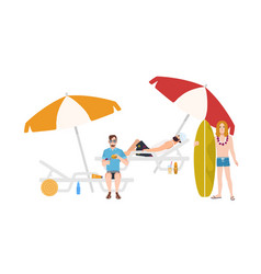 group guys in beachwear lying and sitting on vector image