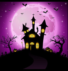 Halloween background with scary church vector