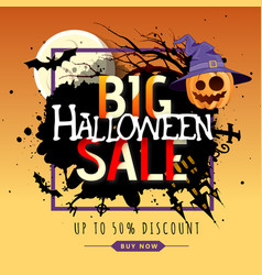 halloween big sale poster with jack o lantern vector image