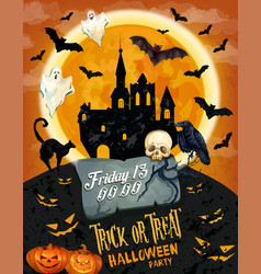 Halloween horror party poster with ghost and house vector