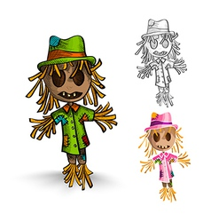 Halloween monsters isolated hand drawn scarecrows vector