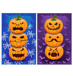 Halloween pumpkins and background set 2 vector