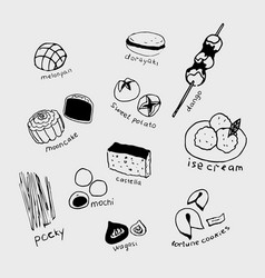 hand-drawn collection of the different japanese vector image