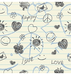 Hand drawn doodles seamless pattern vector image