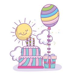 Happy birthday cake rainbow balloon and gift box vector