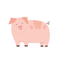 happy funny pig isolated on white background cute vector image