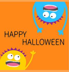 Happy halloween card two screaming monster head vector