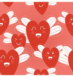 hearts with wings pattern vector image