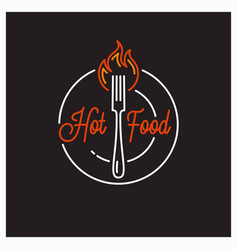 Hot food logo round linear hot fork an plate vector