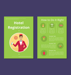 How to do right hotel registration instruction vector