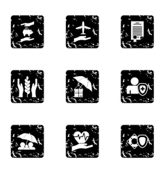 Insurance icons set grunge style vector