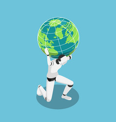 isometric ai robot carrying world on shoulder vector image